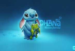 Stitch, frog, Стич, лягушка