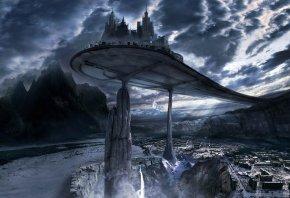 Обои город, будущее, горы, мрак