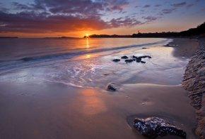 вода, песок, закат, солнце, берег