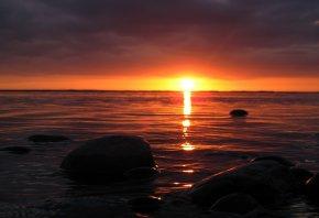 закат, вода, море, вечер, солнце, красное
