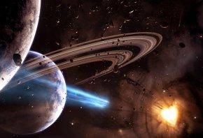 Обои космос, планеты, кольца, звезды, астеройды