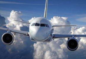авиация, облака, Самолет, полет, небо