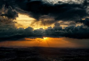 долина, небо, тучи, солнце
