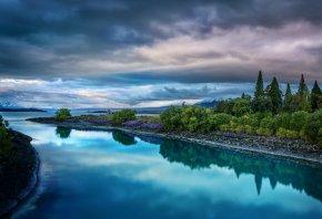река, небо, природа, пейзаж