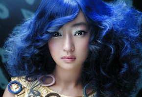 девушка, азиатка, синие волосы, лицо