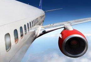 двигатель, самолет, крыло, летит, боинг