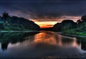 природа, лес, река, вода, закат