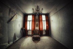 комната, кресло, обои, окна