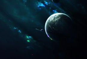 спутники, туманность, Планета, звезды, свет