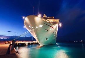 корабль, город, причал, пристань