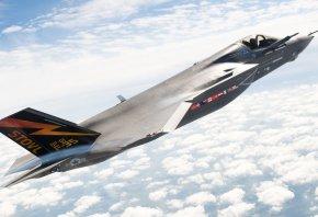 в полете, wallpaper, f-35, самолет, истребитель