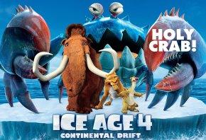 Ice age 4, Continental drift, Manny, Diego, Sid, pirates, iceberg, crab, Ледниковый период 4, Континентальный дрейф