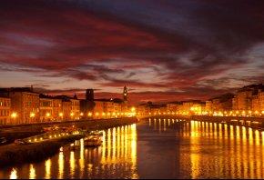 канал, ночь, Город, огни, венеция