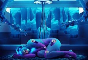 Девушка робот, кибернетический организм, руки, спит