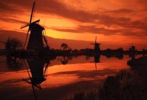 Обои мельницы, река, закат, вечер