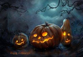тыквы, halloween, башня, мрачно, ночь, пугало, рожи, Арт