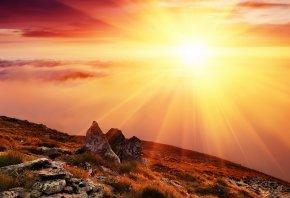 закат, горы, солнце, камни, облака