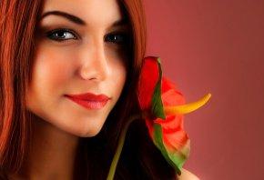 девушка, цветок, портрет, рыжая