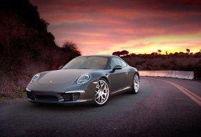 закат, Porsche, автотюнинг, небо, горы, дорога