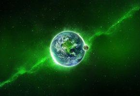 земля, планета, космос, луч