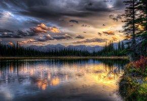 закат, горы, озеро, облока, пейзаж