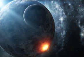 Обои космос, планета, спутник, звезды, взрыв