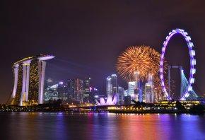 Сингапур, ночь, небо, облака, мегаполис, небоскребы, архитектура, огни, подсветка, залив, отражение, праздник, фейервер