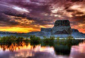 закат, горы, скалы, озеро, пейзаж
