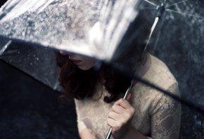 Обои дождь, Девушка, зонт