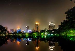 bangkok, город, ночь, огни, пруд, здания, деревья, звезды