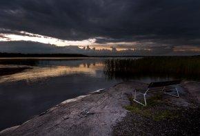 озеро, ночь, скамья