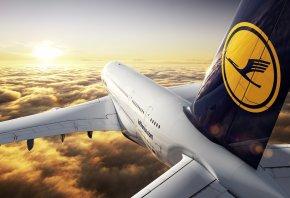 самолет, облака, боинг, 747, рассвет, отражение