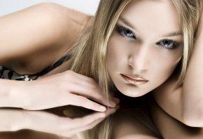 взгляд, глаза, волосы, блондинка