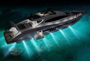 яхта, свет, прожектора, вода