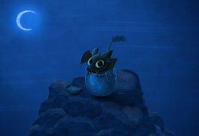 дракон, яйцо, луна, ночь