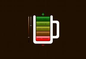 батарея, заряд, чашка, плюс, минус