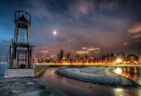 США, Небо, Ночь, Чикаго