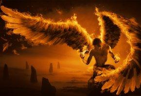 Обои парень, крылья, огонь, перья, скалы