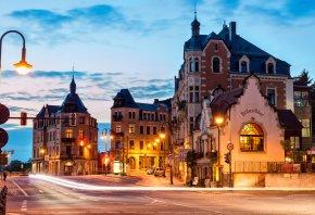Дрезден, Германия, Dresden, Deutschland, Germany, город, утро, дома, фонари, свет, дорога