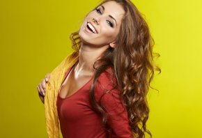 Обои cute, long hair, yellow, babe, model