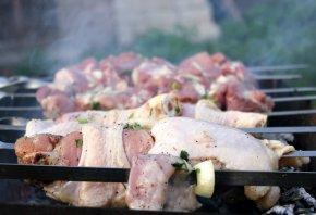 шашлык, шампура, огонь, мясо, отдых