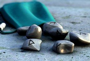 камни, символы, сумка, доски