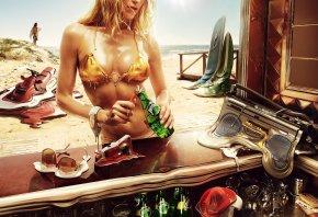 лето, жара, песок, солнце, плавится, девушка, парень