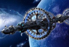 Обои космос, корабль, космический, планета, туманность, звезды