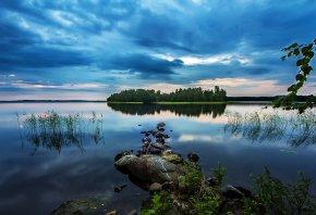 деревья, остров, озеро, лес, водоём