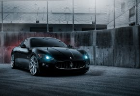 чёрный, Maserati, мазерати, трехзубец