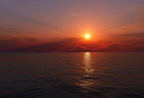 закат, солнце, горизонт, облака, вода