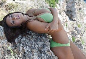 купальник, зеленый, скола, природа, девушка