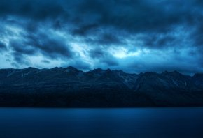 облака, ночь, горы, вода