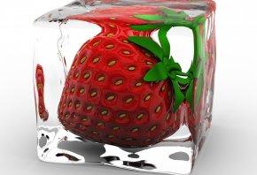 клубника, куб, лёд, 3D